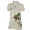 Ed Hardy Womens Koi Rhinestone Embroidered Polo - Gray