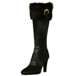 Cochni Fur Tall Dress Boots for Women - Black