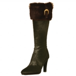 Cochni Fur Tall Dress Boots for Women - Coffee