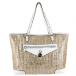 Juicy Couture Metallic Palm Spring Tote-White