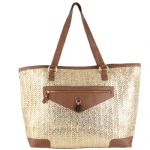 Juicy Couture Metallic Palm Spring Tote-Beige