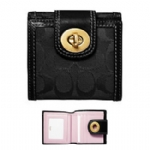 Coach 41058 Hampton Signature French Wallet - Black