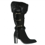 Cochni Suede Tall Dress Boots for Women - Black
