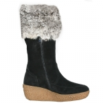 Cochni Suede Wedge Boots for Women - Black
