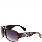Ed Hardy Skull And Roses Brie Sunglasses- Black