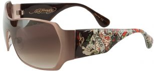 Ed Hardy Skull And Roses Brie Sunglasses- Tortoise - The Ed Hardy Skull and Roses Brie Sunglasses is a beautiful fashionable sunglasses designed by Ed Hardy and marketed by Christian Audigier. The Ed Hardy designer sunglasses features Skull and Roses graphics on temples with Ed Hardy logo detail.