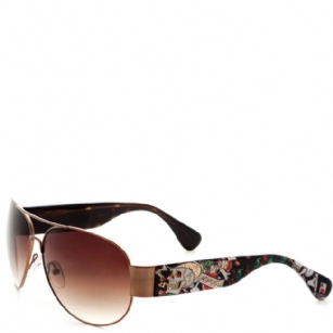 Ed Hardy The Gambler Zeke Sunglasses- Tortoise - The Ed Hardy The Gambler Sunglasses is a beautiful fashionable sunglasses designed by Ed Hardy and marketed by Christian Audigier. The Ed Hardy designer sunglasses features  Skull and Dice graphics on temples with Ed Hardy logo detail.