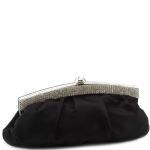 Jessica McClintock J4002333 Pleated Satin Rhinestone Clutch - Black