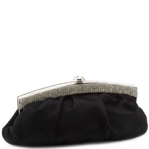 Jessica McClintock J4002333 Pleated Satin Rhinestone Clutch - Black - The Jessica McClintock J4002333 Pleated Satin Rhinestone Clutch Bag is a stylish clutch that can be converted to a small shoulder bag. This fashionable Jessica McClintock purse is made of high quality satin and is part of Jessica McClintock's designer evening bag collection.