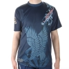 Ed Hardy Mens Dragon Mesh Crew Tee Top - Blue