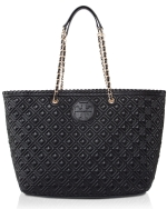Tory Burch Marion Quilted Small East West Tote - Black