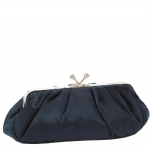Jessica McClintock V06616/23 Pleated Satin Clutch Bag -Navy