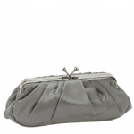 Jessica McClintock V06616/61 Pleated Satin Clutch Bag -Pewter