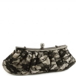 Jessica McClintock V06665 Lace Clutch Bag - Black-Champagne