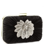 Jessica McClintock V4103 Crystal Floral Minaudiere Clutch - Black