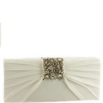 Jessica McClintock V90719 Satin Jeweled Flap Clutch - Ivory
