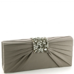 Jessica McClintock V90719 Satin Jeweled Flap Clutch - Pewter