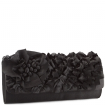 Jessica McClintock J91002 Satin Ruffle Clutch - Black
