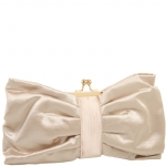 Jessica McClintock V91020 Satin Clutch With Bow - Champagne