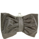 Jessica McClintock V91020 Satin Clutch With Bow - Pewter