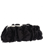 Jessica McClintock V91024  Ruffle Satin Clutch -Black