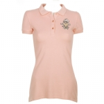 Ed Hardy Womens Heart Crossbone Basic Polo Shirt - Coral