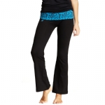 New Balance Mum Print Fold Over Lounge Pants - Black/Kinetic Blue