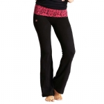 New Balance Mum Print Fold Over Lounge Pants - Black/Verry Berry